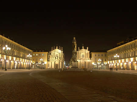 Piazza San Carlo in Turin (Torino), baroque architecture - at night