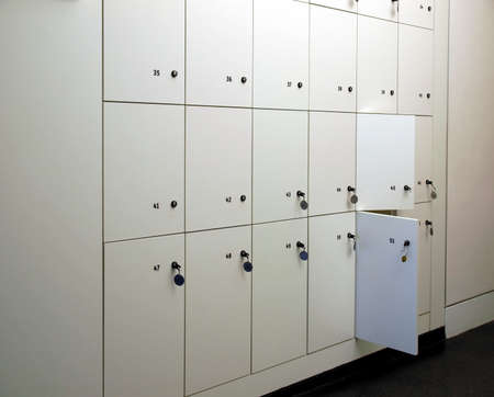Lockers cabinets in a locker room at school or museum or station