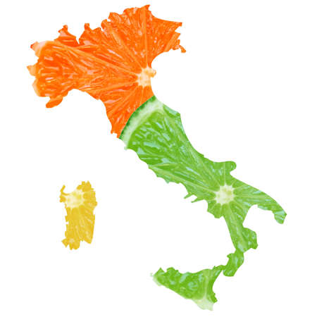 Typical italian food in Italy map illustration Stock Illustration - 7000521
