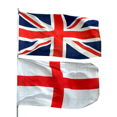 Flags of UK and Englan - isolated over white background