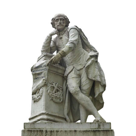 Statue of William Shakespeare (year 1874) in Leicester square, London, UK - isolated over white Stock Photo - 7000599