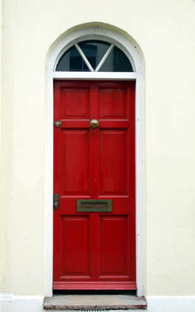 Brightly coloured traditional English house door in London Stock Photo - 7000825