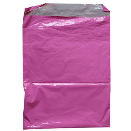 envelope: Pink plastic bag isolated over white background Stock Photo