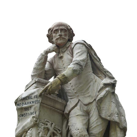 william: Statue of William Shakespeare (year 1874) in Leicester square, London, UK - isolated over white background