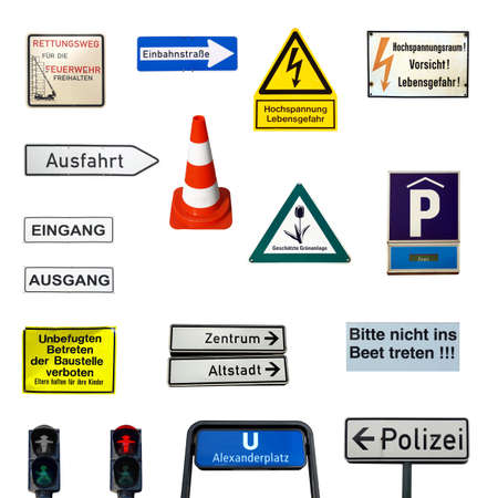 Collection of German signs isolated over white background photo
