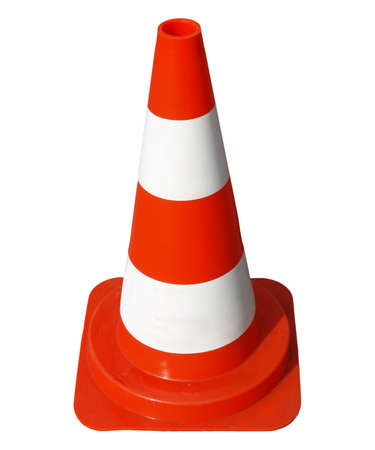 Traffic cone used in street road works - in German (Deutsch) - isolated over white background photo