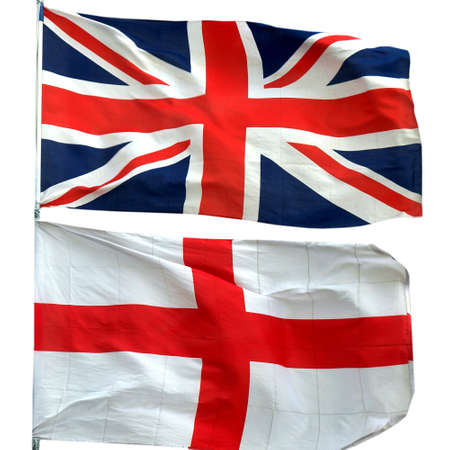 Flags of UK and Englan - isolated over white background photo