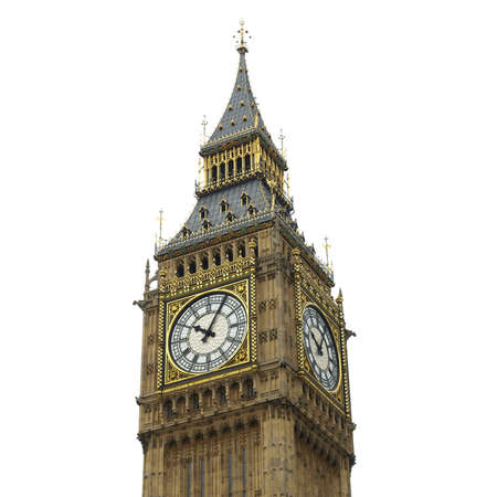 ben: Big Ben, Houses of Parliament, Westminster Palace, London gothic architecture - isolated over white background Stock Photo