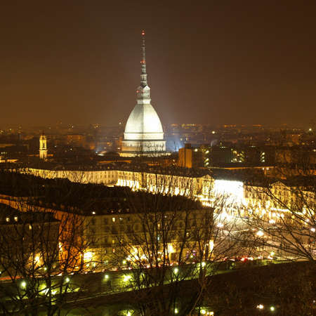 City of Turin (Torino) skyline panorama seen from the hill - at night