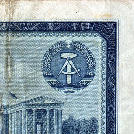 ddr: DDR symbol on a vintage East Germany banknote
