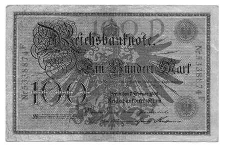 Vintage withdrawn 100 Mark banknote of the Deutsches Reich (German Empire), year 1908 photo