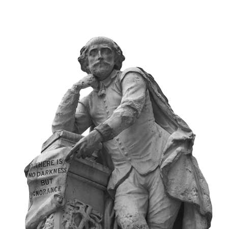 Statue of William Shakespeare (year 1874) in Leicester square, London, UK - isolated over white background Stock Photo - 7128333