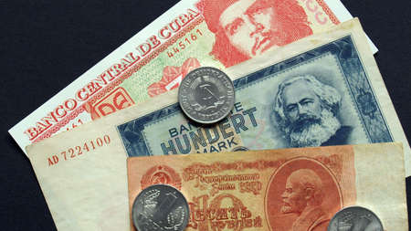 ddr: Money from the Communist countries: CCCP SSSR DDR Cuba Stock Photo