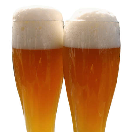 Large glass of weiss (white) German beer - isolated over white background Stock Photo - 7128280