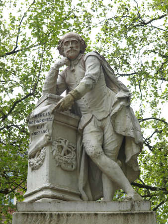 Statue of William Shakespeare (year 1874) in Leicester square, London, UK photo