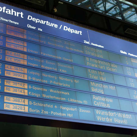 spandau: Timetable display screen of arrivals and departures at station or airport