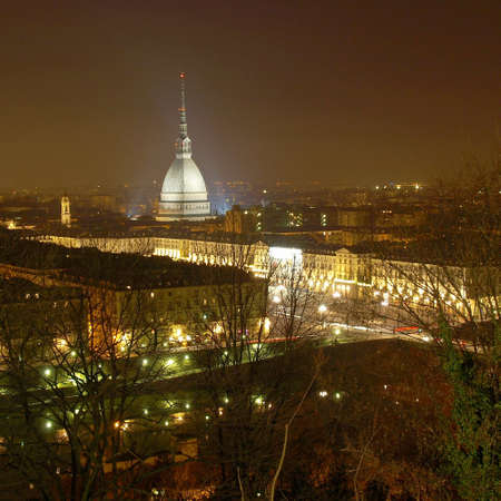 mole: City of Turin (Torino) skyline panorama seen from the hill - at night