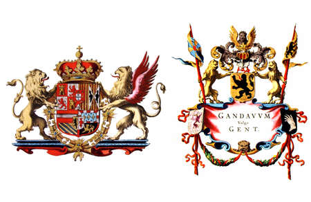 belgie: Coat of Arms flag of the town of Gent (Ghent), Belgium
