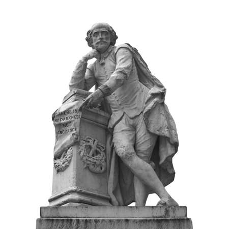 Statue of William Shakespeare (year 1874) in Leicester square, London, UK - isolated over white Stock Photo - 7236108