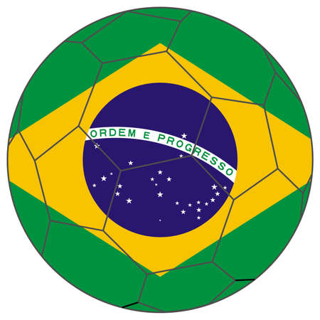 world cup: Flag of Brazil in a world cup football soccer ball Stock Photo
