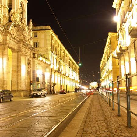 Via Po, ancient central baroque street in Turin (Torino) - at night photo
