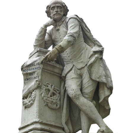 william: Statue of William Shakespeare (year 1874) in Leicester square, London, UK - isolated over white
