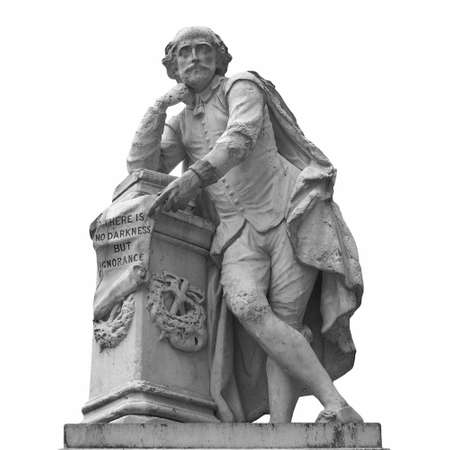 william: Statue of William Shakespeare (year 1874) in Leicester square, London, UK Stock Photo