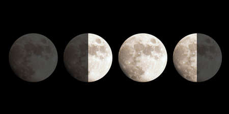phases: Moon phases: New, First quarter, Full, Third quarter Stock Photo