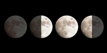 Moon phases: New, First quarter, Full, Third quarter Stock Photo