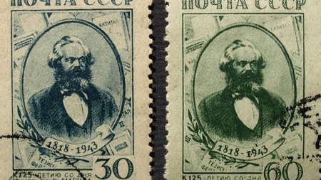 karl: USSR, CIRCA 1943 - Karl Marx stamps, USSR, Circa 1943