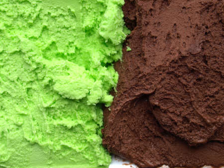 Detail of Mint Chocolate flavour ice cream photo