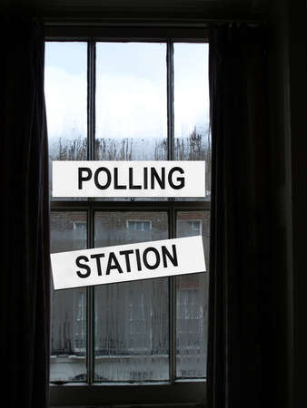 voters: Polling station place for voters to cast ballots in elections