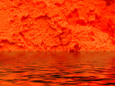 Flow of lava erupted from a volcano to the sea photo
