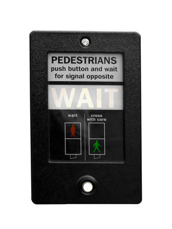 Wait sign at a traffic light for pedestrian crossing - isolated over white background photo