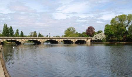 Serpentine lake river in Hyde Park, London, UK photo