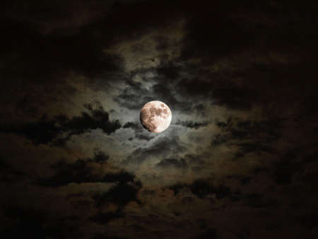 moon light: Dark baroque sky with full moon and clouds