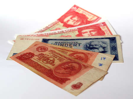 ddr: Money from the countries: CCCP SSSR DDR Cuba Stock Photo