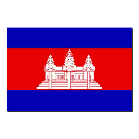national colors: The national flag of Cambodia - with shadow over white background