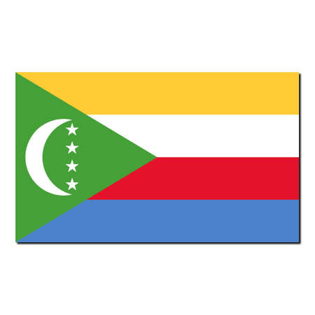national colors: The national flag of Comoros - with shadow over white background