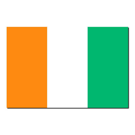 cote ivoire: The national flag of Cote Ivoire - with shadow over white background Stock Photo