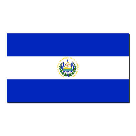 The national flag of El Salvador - with shadow over white background photo