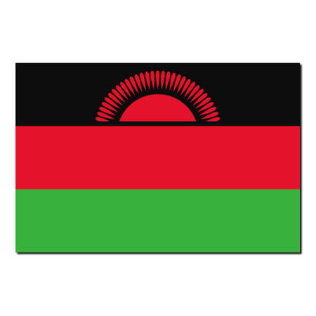 malawi: The national flag of Malawi - with shadow over white background