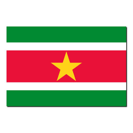 suriname: The national flag of Suriname - with shadow over white background