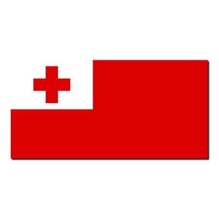 tonga: The national flag of Tonga - with shadow over white background