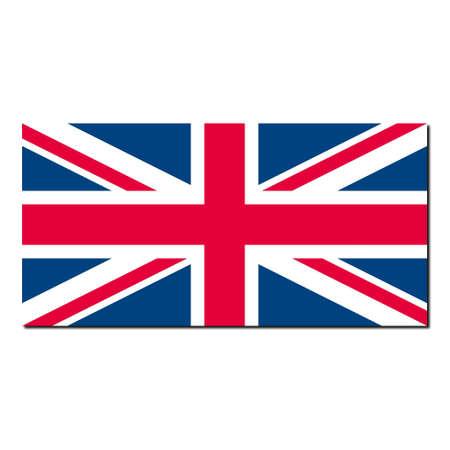 bandiera inglese: UK bandiera Union Jack - normalizzato corretto rapporto (2: 1) e colori (RGB 204,0,51-255,255,255 - 0,51,102) - con ombra su sfondo bianco  Archivio Fotografico