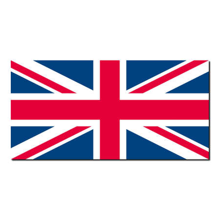 UK Flag Union Jack - Proper normalised ratio (2:1) and colours (RGB 204,0,51 - 255,255,255 - 0,51,102) - with shadow over white background photo