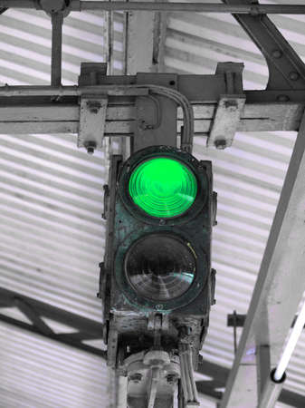 authorisation: Green light on a traffic light or semaphore
