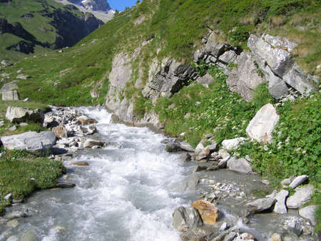 rivulet: Panoramic view of a river with water Stock Photo