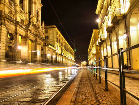 Via Po, ancient central baroque street in Turin (Torino) - at night - high dynamic range HDR Stock Photo