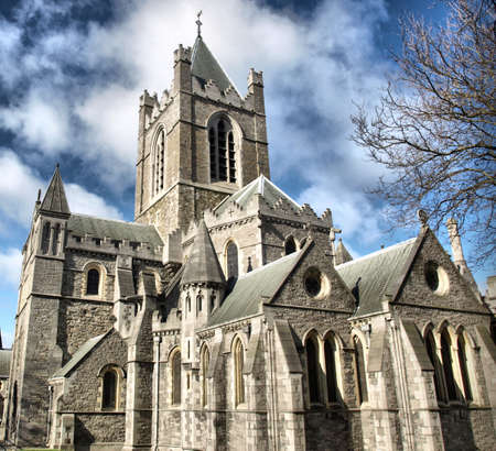 Christ Church, Dublin - ancient gothic cathedral architecture - high dynamic range HDR 版權商用圖片